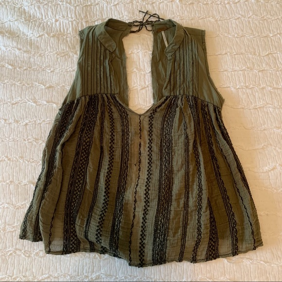 Olive Free People Open Back Tank